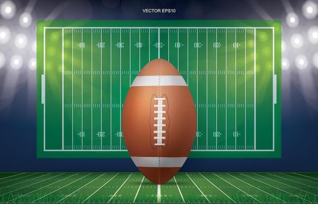 Voetbalbal op de achtergrond van het voetbalgebiedstadion met perspectief lijnpatroon van amerikaans voetbalveld. vector illustratie.