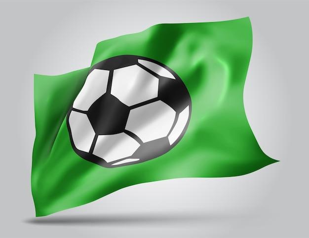 Voetbalbal, vector 3d vlag die op witte achtergrond wordt geïsoleerd