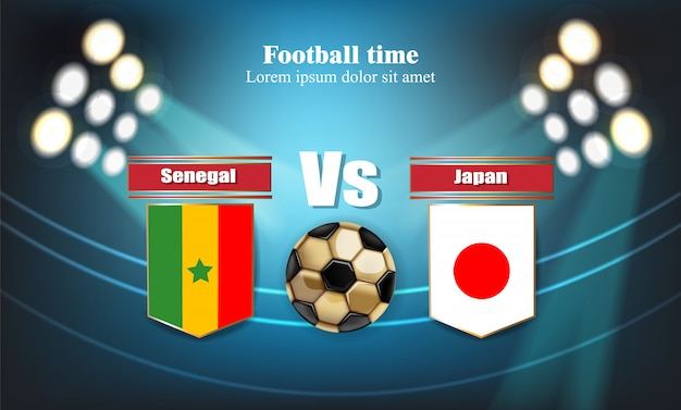 Voetbalbord senegal vlag vs japan