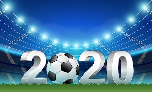 Voetbalcompetitie en sportvoetbal 2020 3d sjabloon voor spandoek