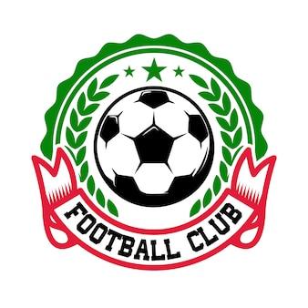 Voetbalelftal. embleem sjabloon met voetbal. element voor logo, label, teken, badge. illustratie