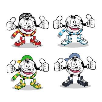 Voetbalfans cartoon mascotte