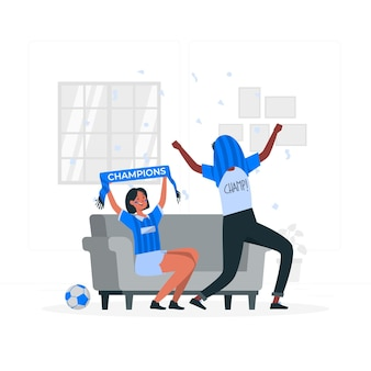 Voetbalfans concept illustratie