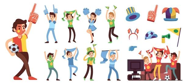 Voetbalfans. juichend sportondersteuningsteam, glimlachende mensen in voetbaluniform. geïsoleerde stadion menigte stripfiguren en rooter apparatuur vectorillustratie. voetbal sport, voetbal vrolijk