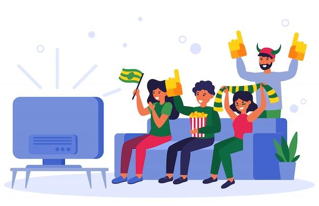 Voetbalfans kijken naar tv-wedstrijd