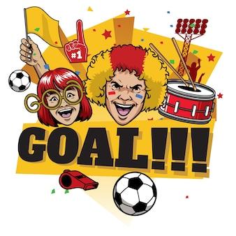 Voetbalfans vrolijk doel vieren