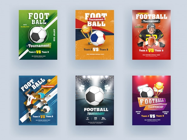 Voetbalkampioenschap en toernooisjabloon of folderontwerp met gouden trofeekop en spelerskarakter op verschillende kleurenachtergrond.