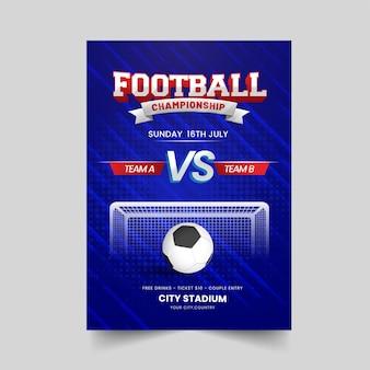 Voetbalkampioenschap posterontwerp met realistische bal op blauwe abstracte lijnen achtergrond.