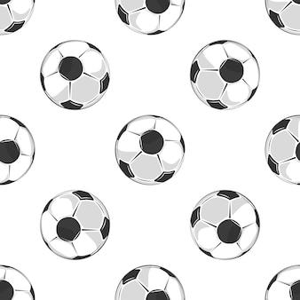 Voetballen naadloze patroon in zwart en wit