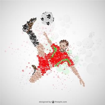 Voetballer in de aanval