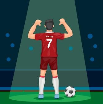 Voetballer in rood uniform scoren doel feest tonen nummer van achteraanzicht in stadion met spotlight concept in cartoon afbeelding