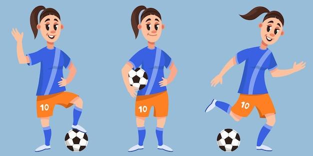 Voetballer in verschillende poses. vrouwelijke personage in cartoon-stijl.