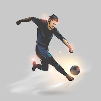 Voetballer omhoog schoppen