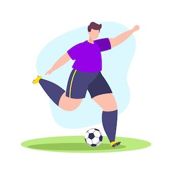 Voetballer schoot de bal