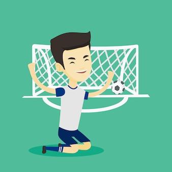 Voetballer vieren scoren doel.