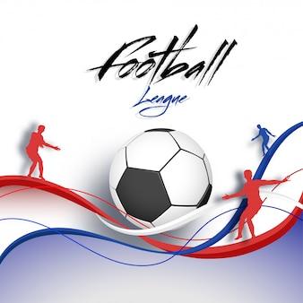 Voetballers en voetbal op wuivende achtergrond.