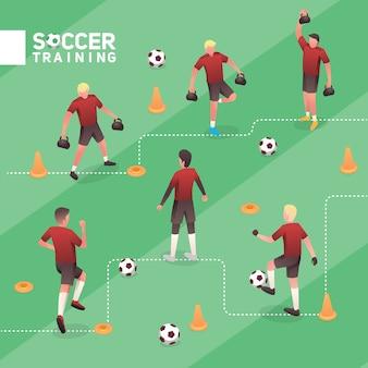 Voetbalmens rood team die isometrische vectorillustratiereeks opleiden
