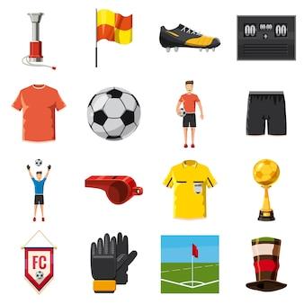 Voetbalpictogrammen geplaatst voetbal, cartoon stijl