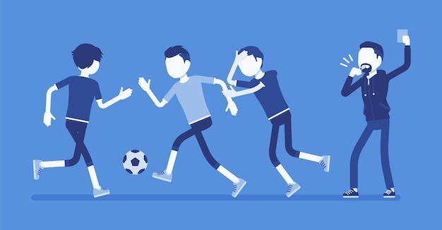 Voetbalscheidsrechter steunt waarschuwingskaart voor teamspeler
