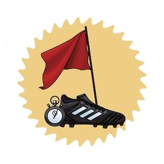 Voetbalschoenen en vlag
