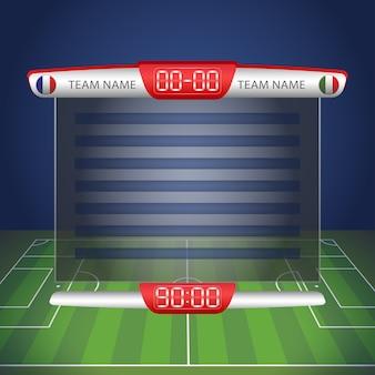 Voetbalscorebord met tijd- en resultaatweergave.