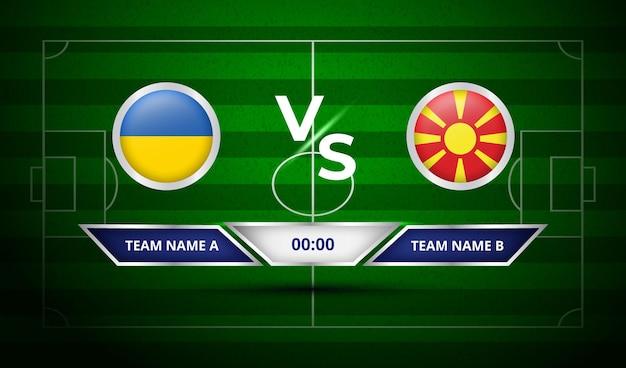Voetbalscorebord oekraïne vs noord-macedonië