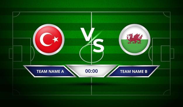 Voetbalscorebord turkije vs wales