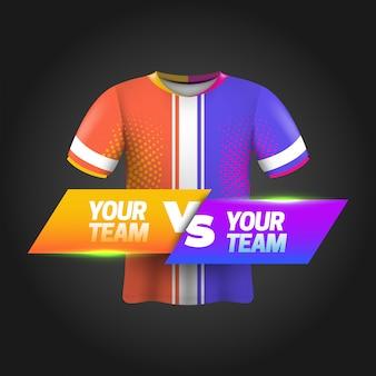 Voetbalscorebord uitgezonden grafische sjabloon met shirtmodel