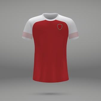 Voetbalset arsenal, shirtsjabloon voor voetbaltrui