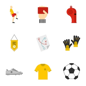 Voetbalset, vlakke stijl