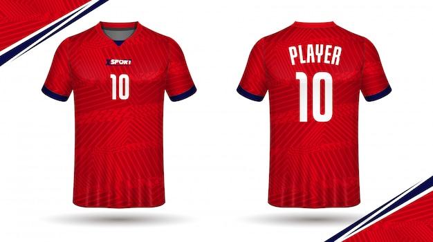 Voetbalshirt sjabloon aan de voor- en achterkant