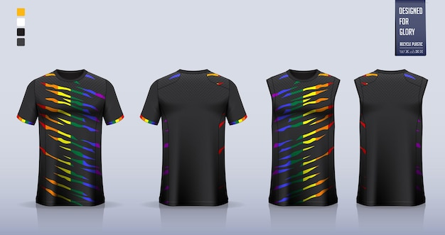 Voetbalshirt, voetbaltenue, basketbaluniform of sportkleding sjabloonontwerp.