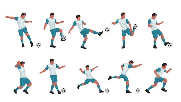 Voetbalspeler gekleurde set