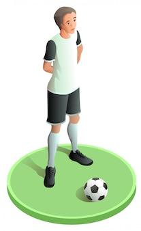 Voetbalspeler in abstracte uniform en bal