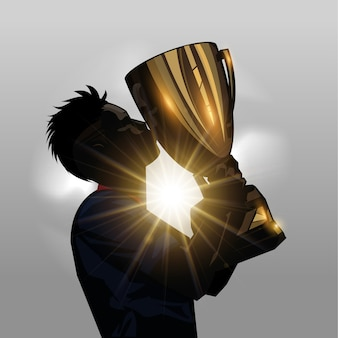Voetbalspeler kussen trofee
