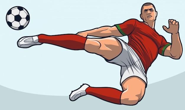 Voetbalspeler scissor kick