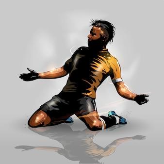 Voetbalspeler scoren doel
