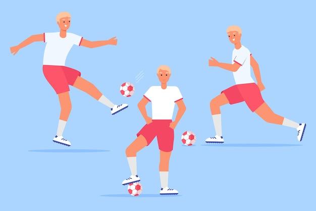 Voetbalspeler set plat ontwerp