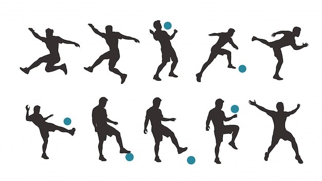 Voetbalspeler silhouet set