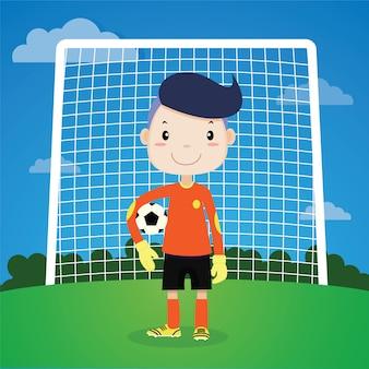 Voetbalspeler van de jongen is doel