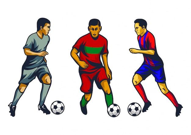 Voetbalspeler vector set