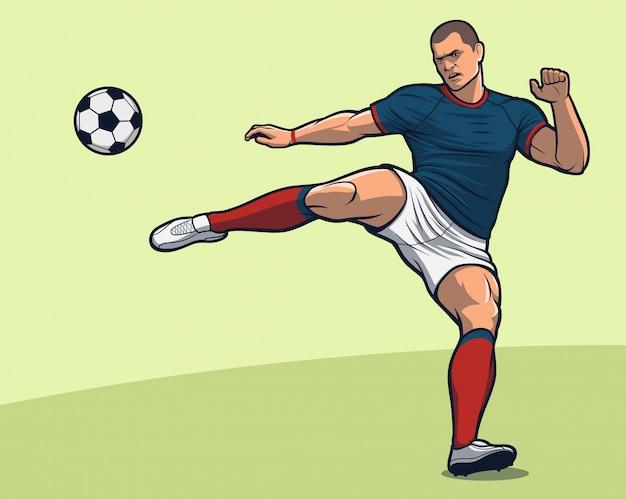 Voetbalspeler volley kick