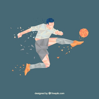 Voetbalspelerachtergrond in abstracte stijl