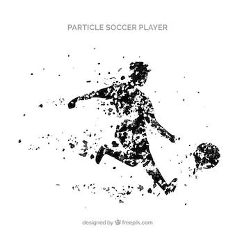 Voetbalspelerachtergrond in deeltjesstijl