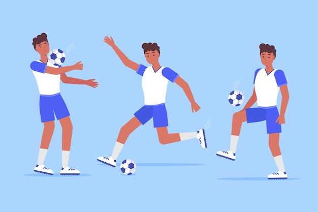 Voetbalspelerpakket plat ontwerp Gratis Vector