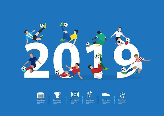 Voetbalspelers in actie op het nieuwe jaar van 2019