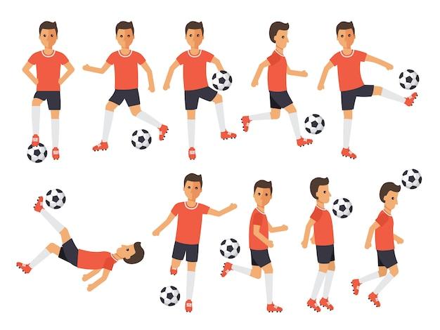 Voetbalspelers, voetbalsportatleten in acties.