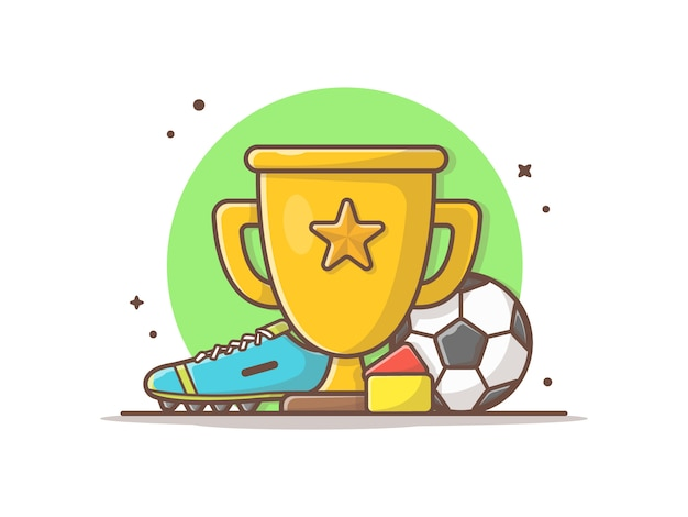 Voetbalsporttrofee met voetbal en schoenen vector illustraties