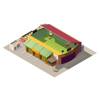 Voetbalstadion die lage poly isometrisch bouwen