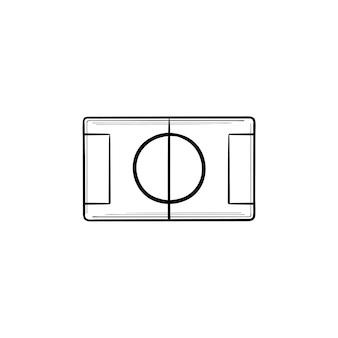 Voetbalstadion hand getrokken schets doodle pictogram. sportkampioenschap, stadionindeling, voetbalconcept